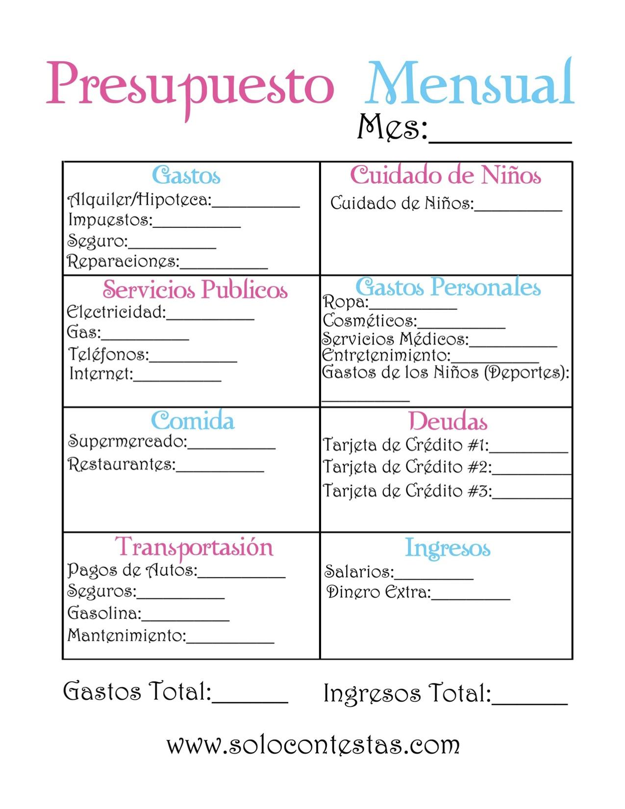 Lujo Plantilla De Presupuesto Imprimible Inspiración - Colección De ...